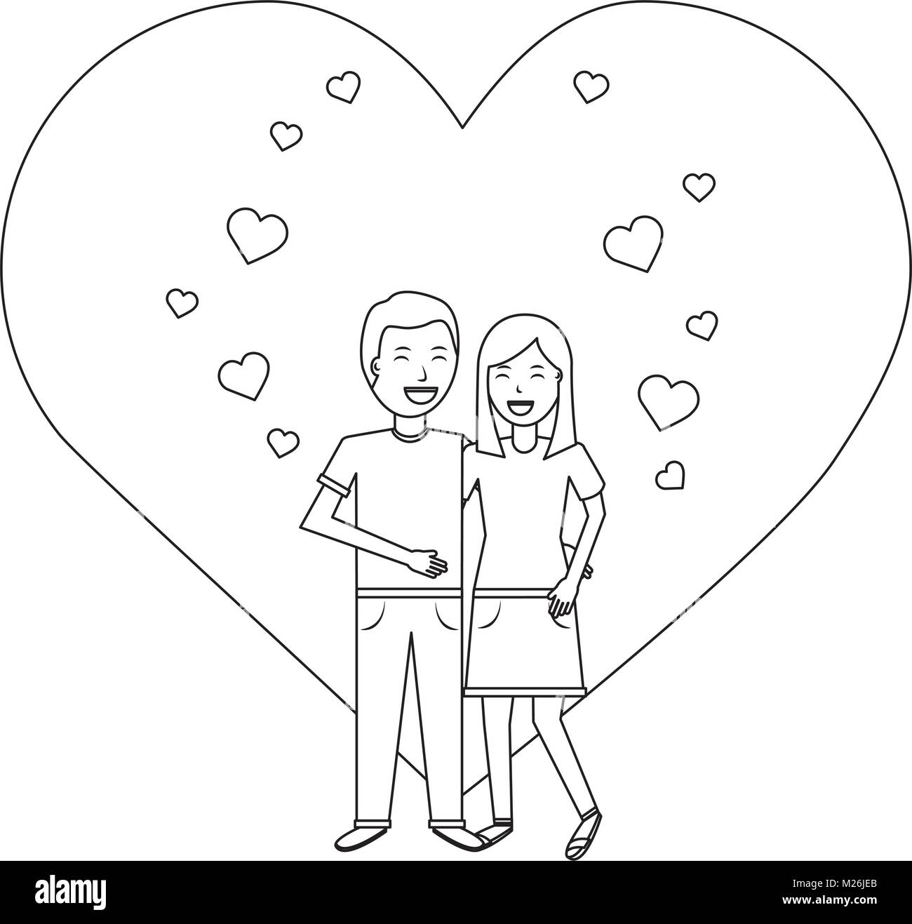 valentines day poster with man and woman tenderly hugging - Stock Image