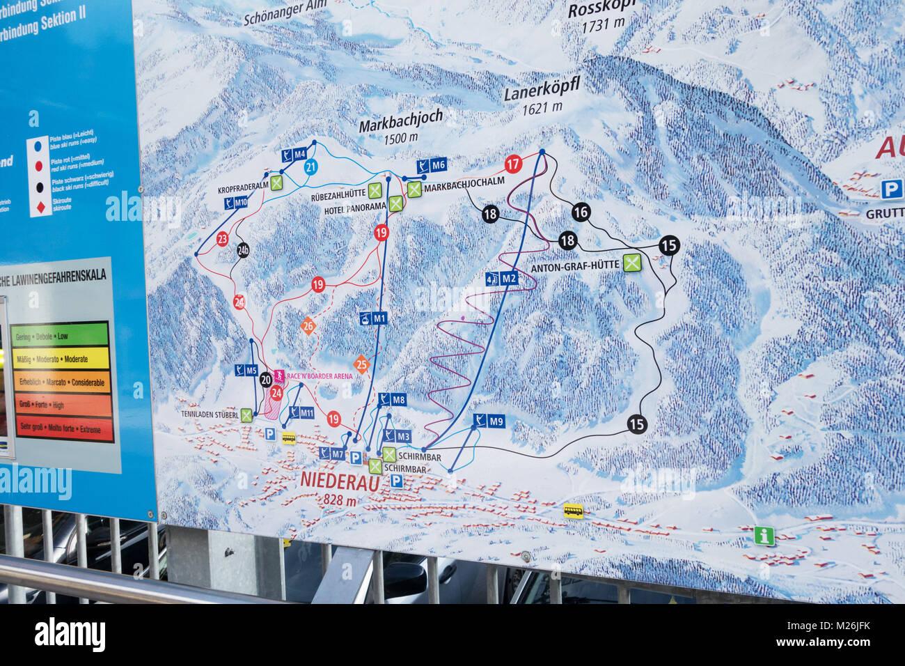 Skiing piste map, Niederau village, Alpenbach, Tirol, Austria Europe - Stock Image