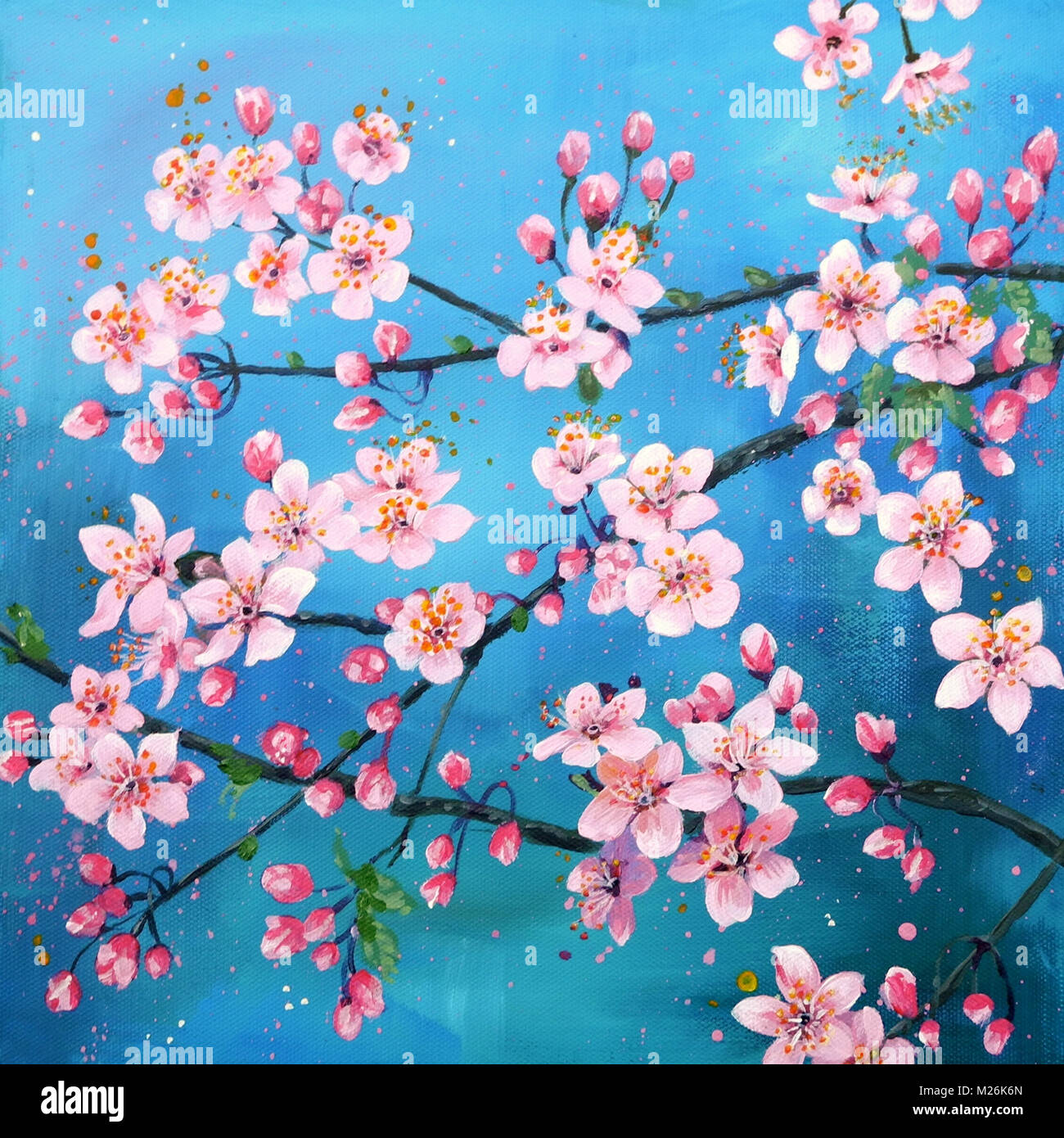 Painting Of Blossoms On A Tree Branch Stock Photo Alamy