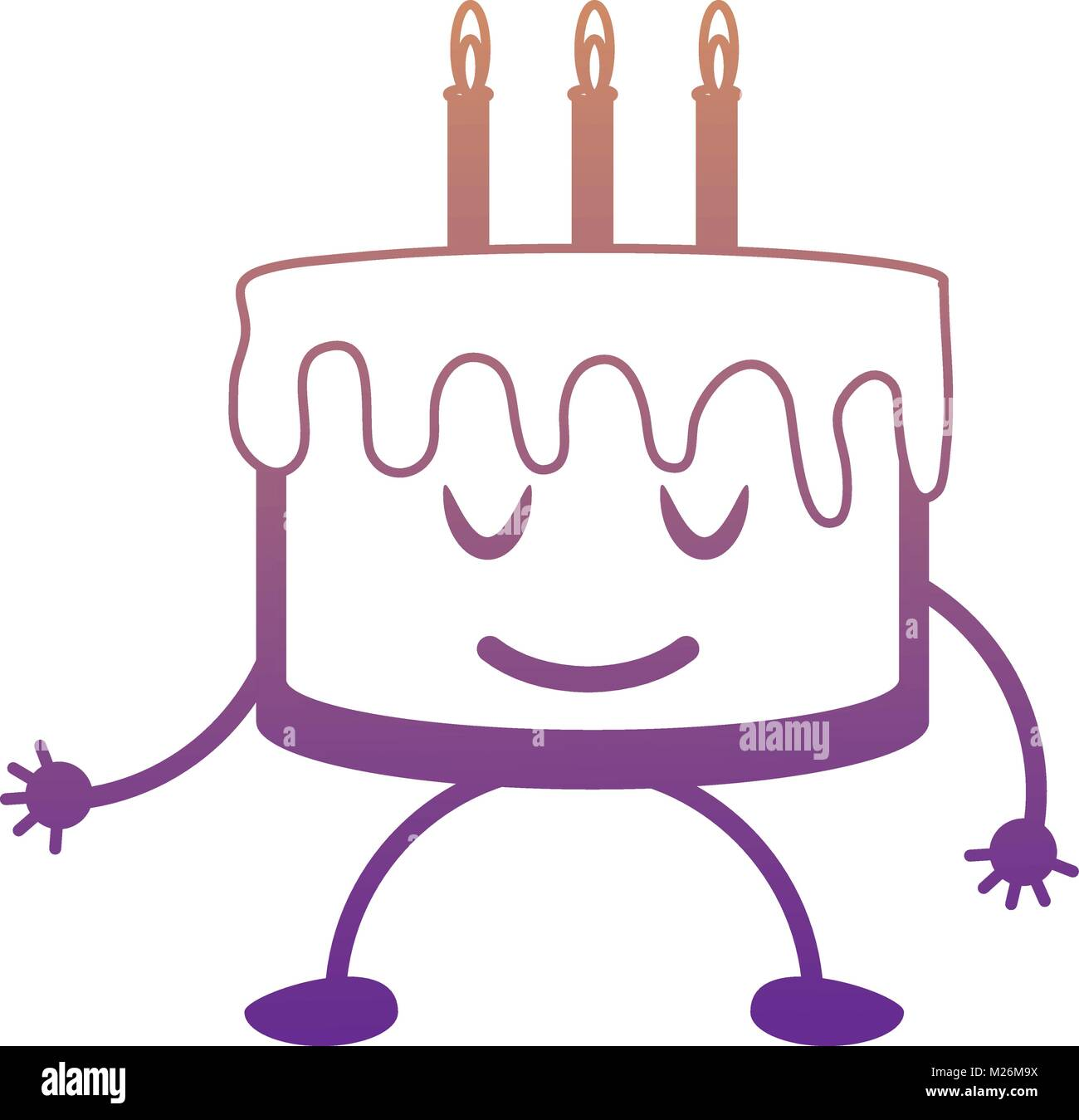 Kawaii Birthday Cake Icon Stock Vector Art Illustration Vector