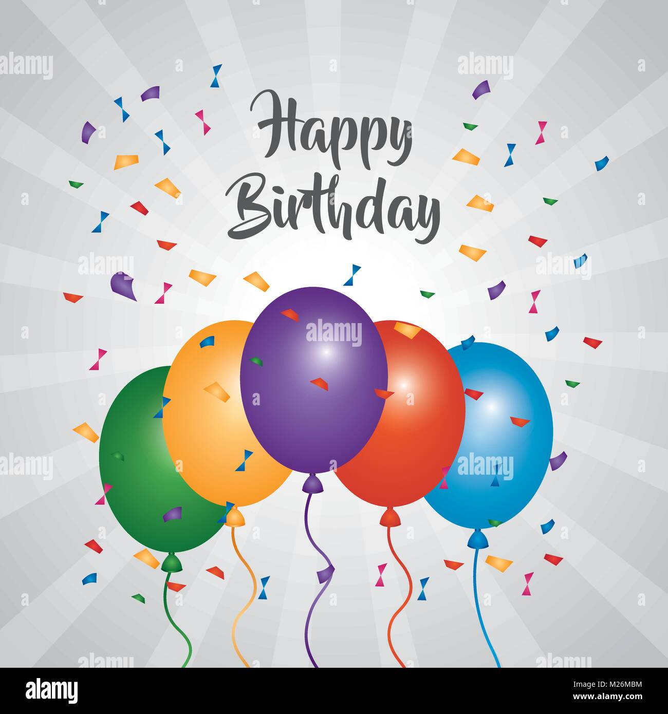 Happy Birthday Greeting Card Bright Color Balloons Confetti