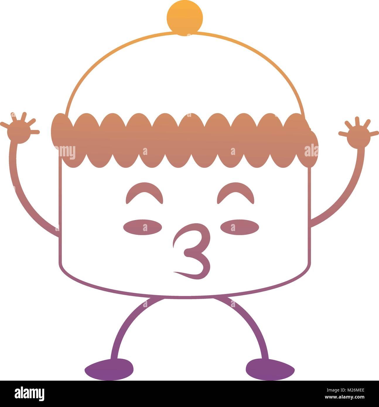 kawaii muffin icon - Stock Vector