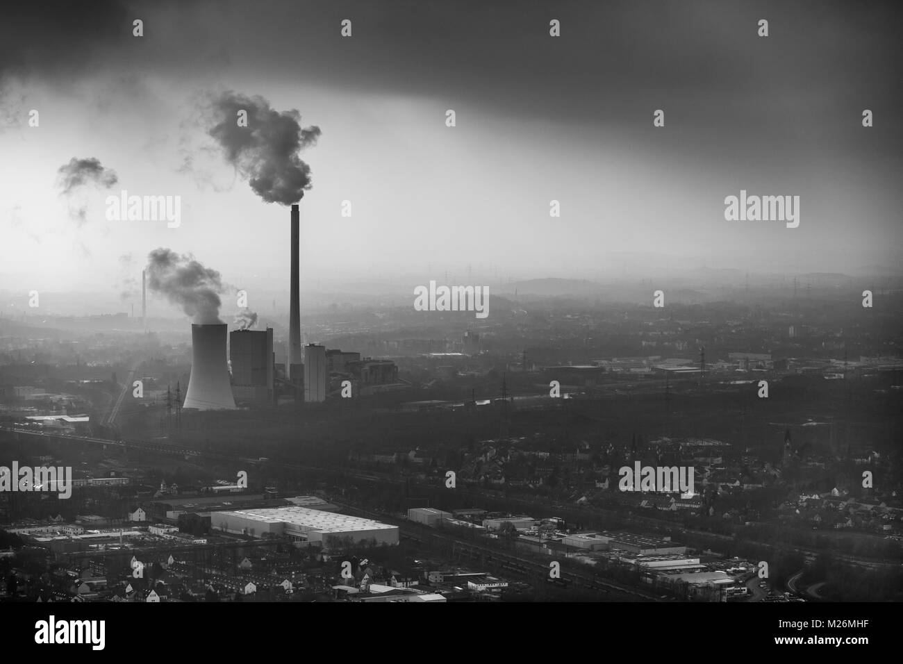 STEAG heating power plant Herne in the haze before industrial backdrop in Herne in the Ruhr area in North Rhine - Stock Image