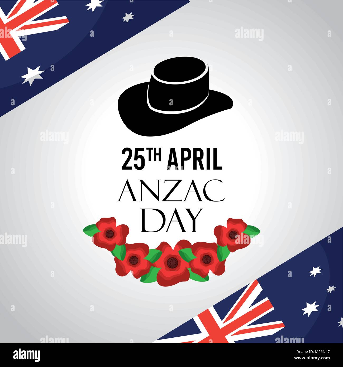 173a6d1dd7 anzac day celebration card flags australian hat commemoration - Stock Image