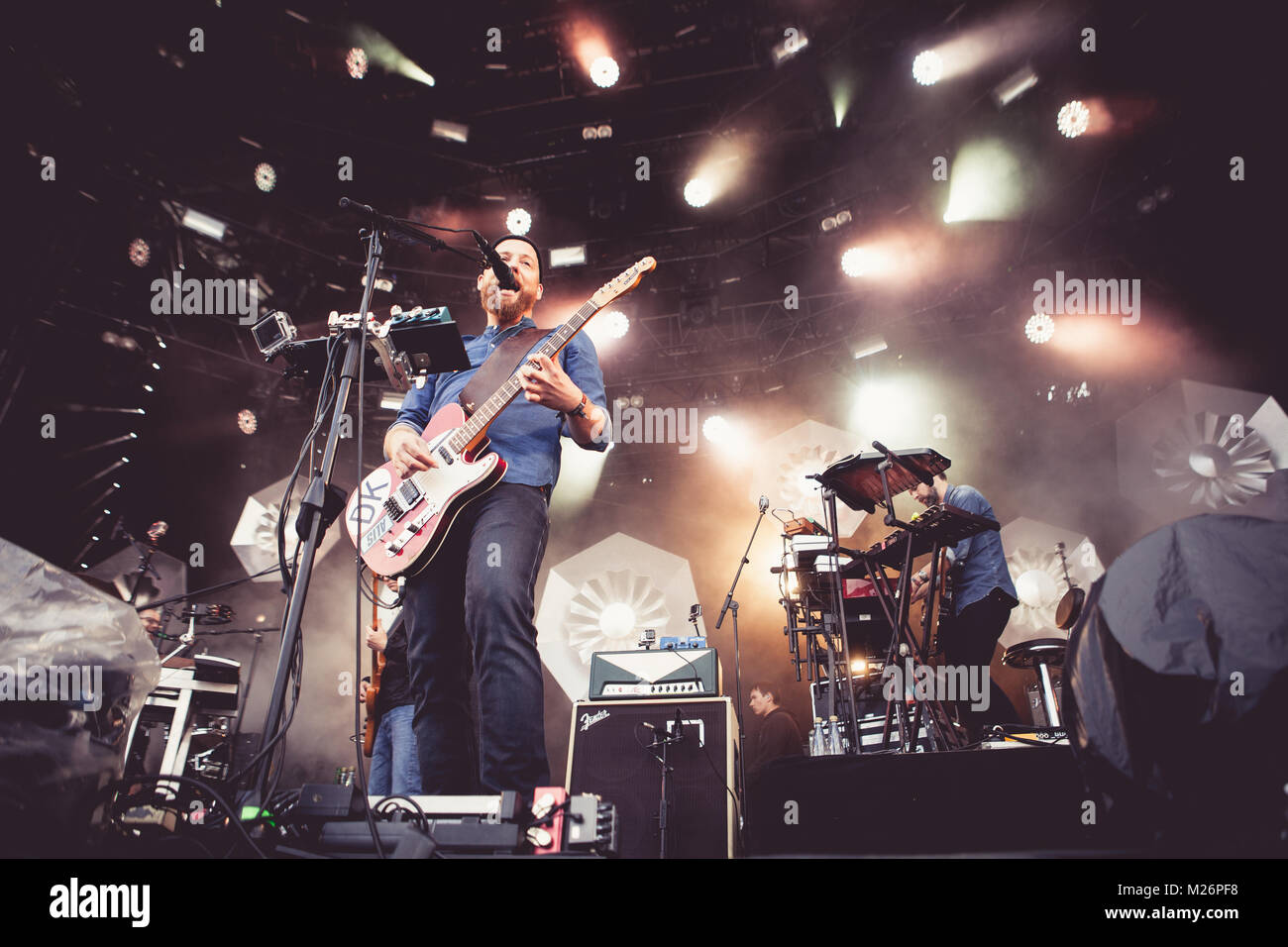The alternative Danish rock band Kashmir is here pictured live on stage with singer and guitarist Kasper Eistrup - Stock Image