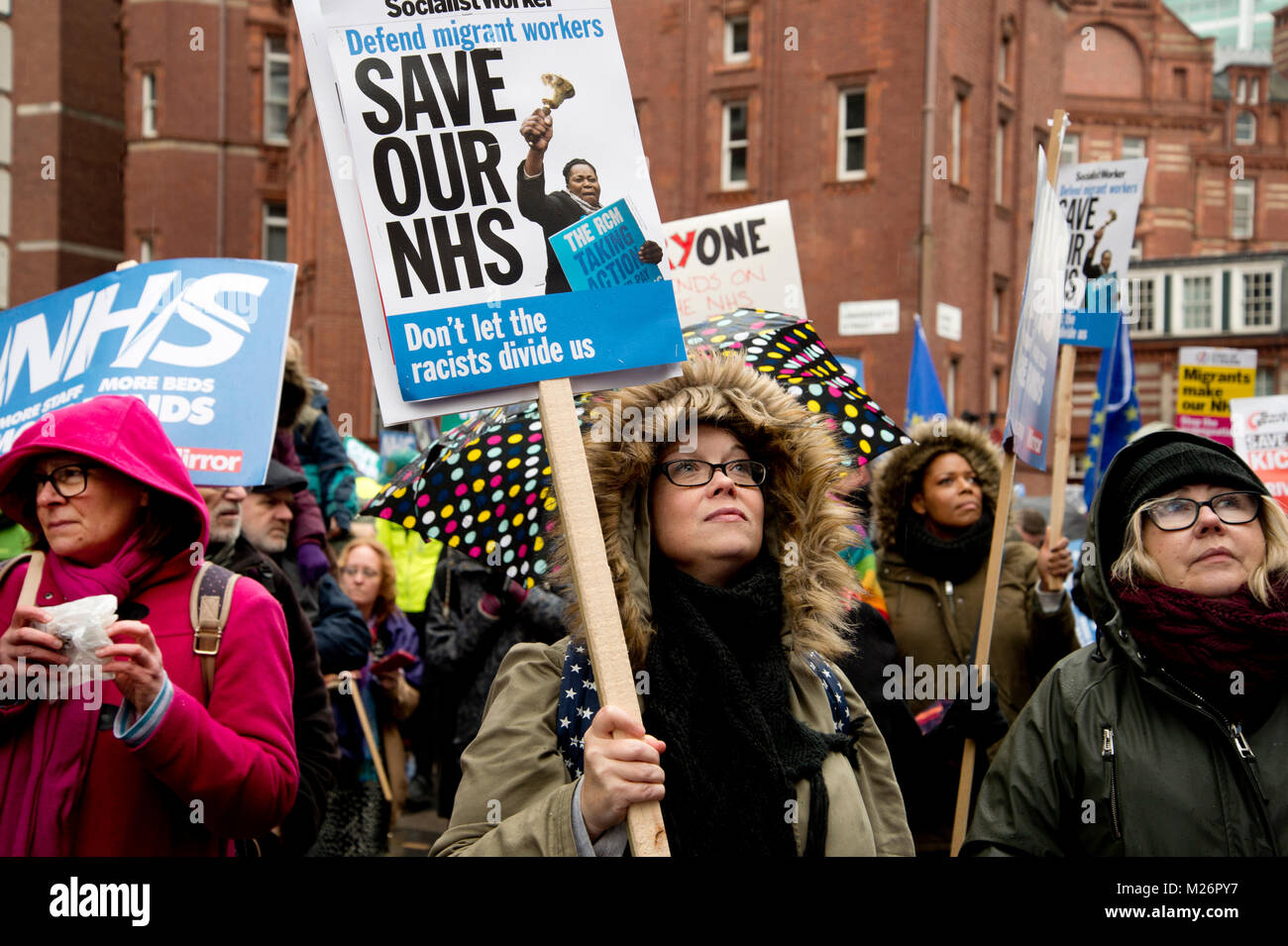Demonstration called by the People's Assembly in support of the NHS (National Health Service}. A group of women - Stock Image