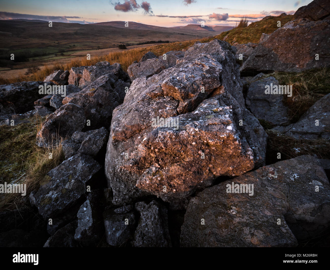 Welsh Landscape at Sunset - Stock Image