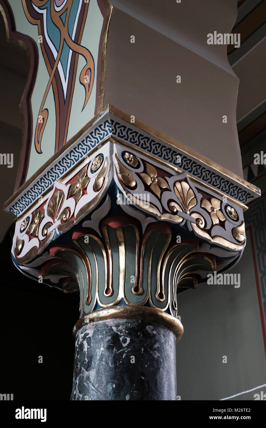 Decorated column of Carrara marble inside the Sofia Synagogue the