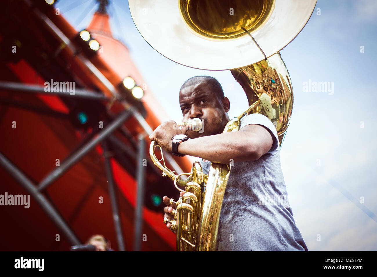 """Sousaphonist Damon """"Tuba Gooding Jr."""" from the American hip-hop band The Roots is here pictured live at the Danish Stock Photo"""