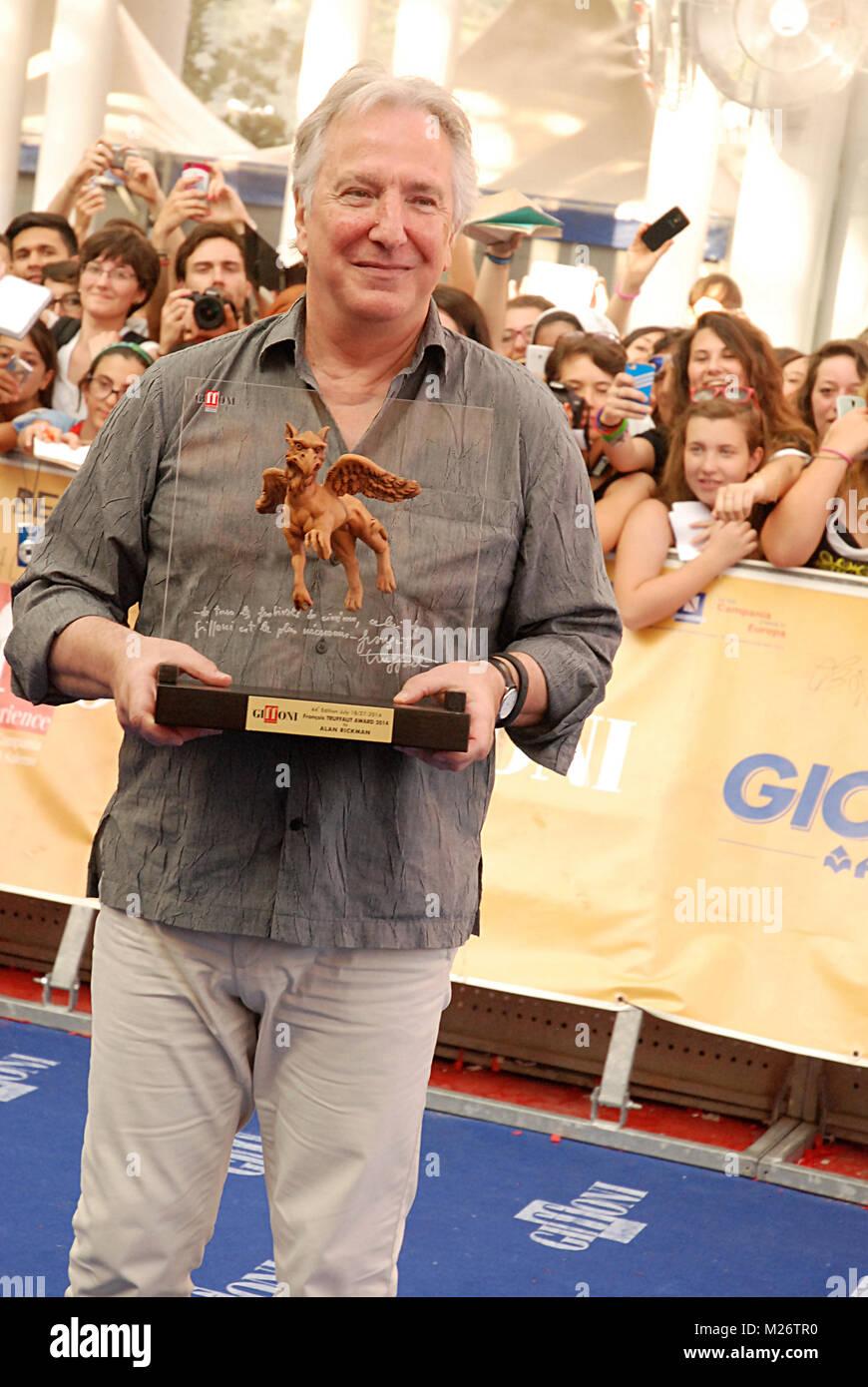 Giffoni Valle Piana, Sa, Italy - July 23, 2014 : Alan Rickman at Giffoni Film Festival 2014 - on July 23, 2014 in - Stock Image