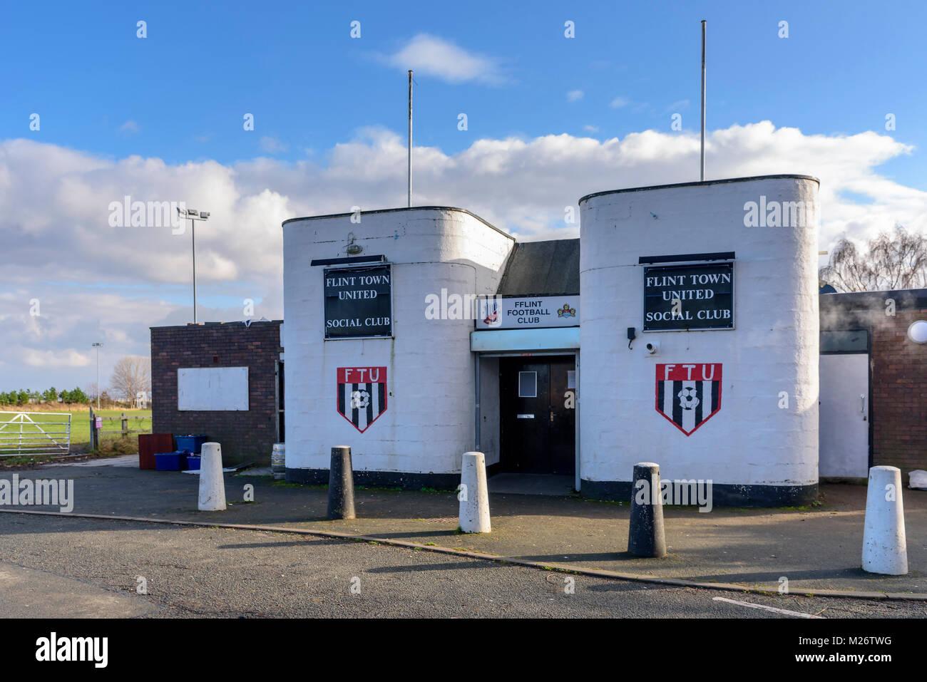 Flint Town football club clubhouse. FFlint - Stock Image