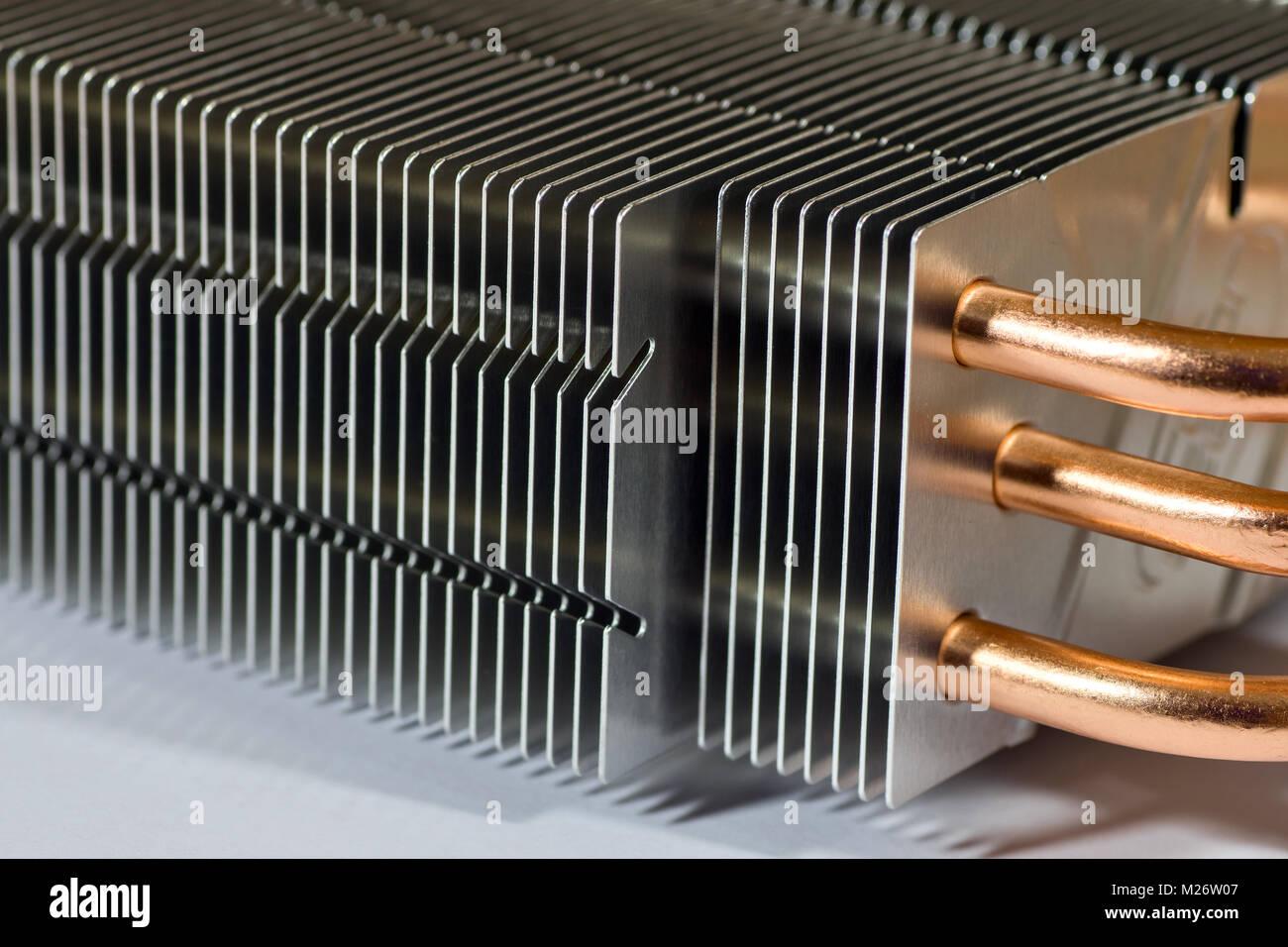 Aluminium radiator with copper heat pipe close-up - Stock Image