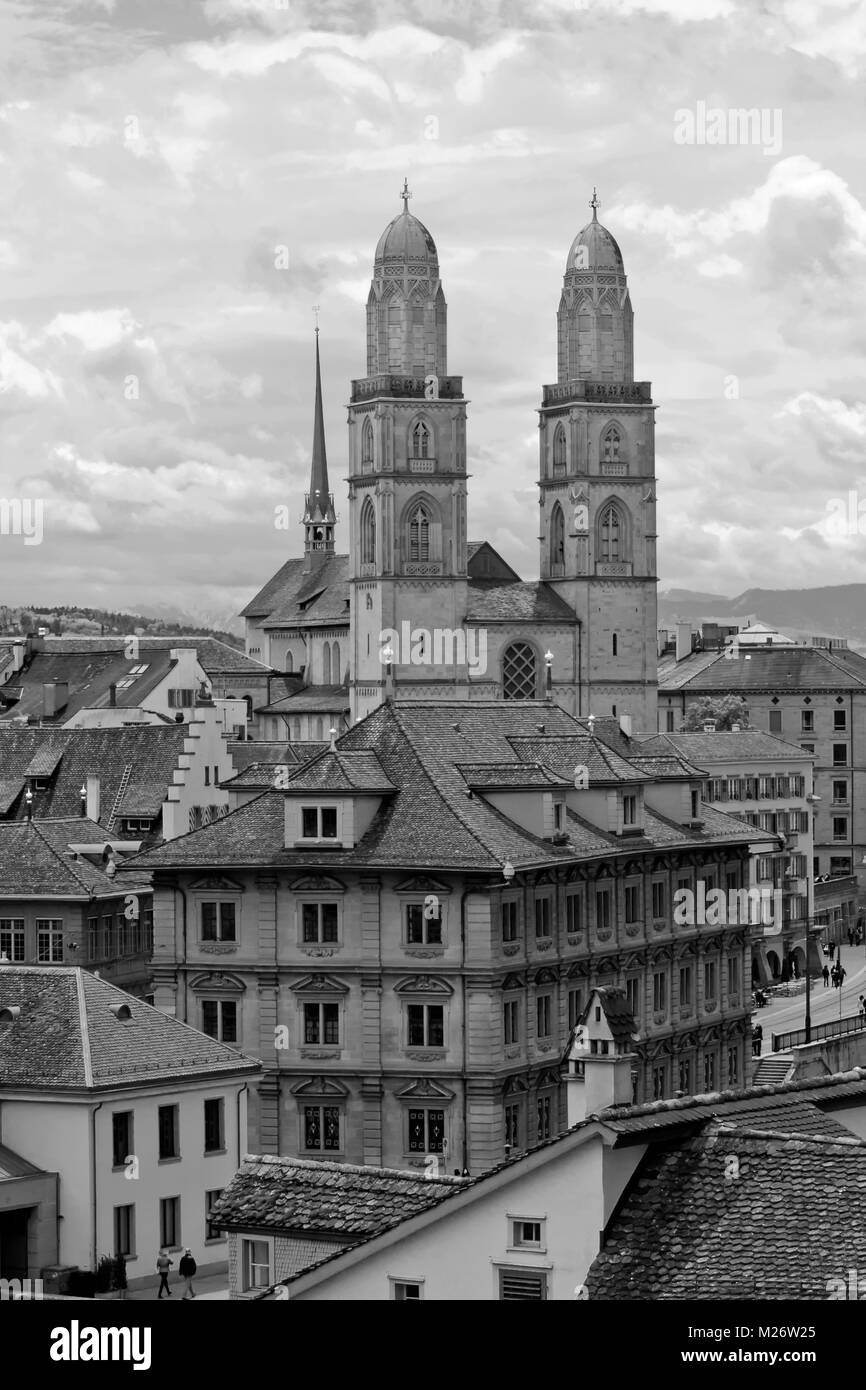 rossmьnster Romanesque-style Protestant church, Zurich, Switzerland,  Europe - Stock Image