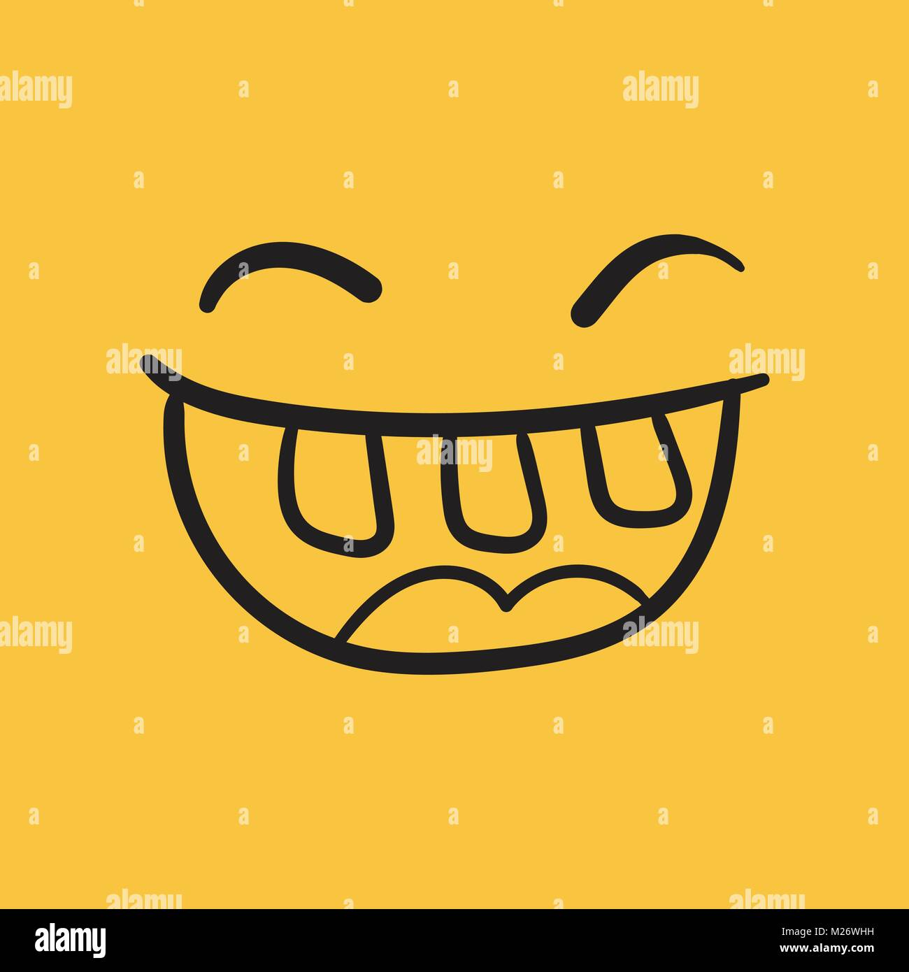 Simple smile with tongue vector icon  Hand drawn face doodle Stock