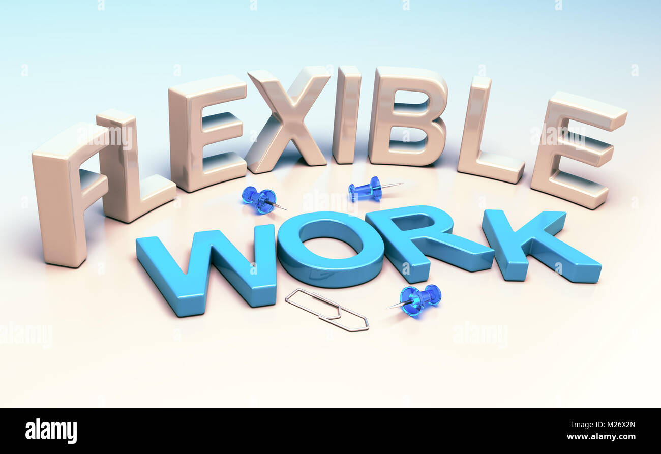 3D illustration words flexible work and office supplies. Concept of workplace flexibility. - Stock Image