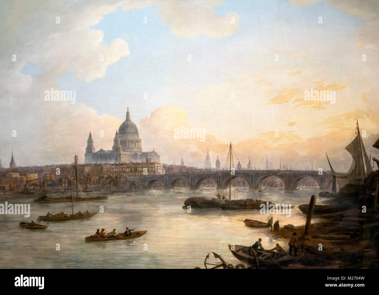 London in the 18th century. Blackfriars Bridge and St Pauls Cathedral by William Marlow (1740-1813), oil on canvas, - Stock Image