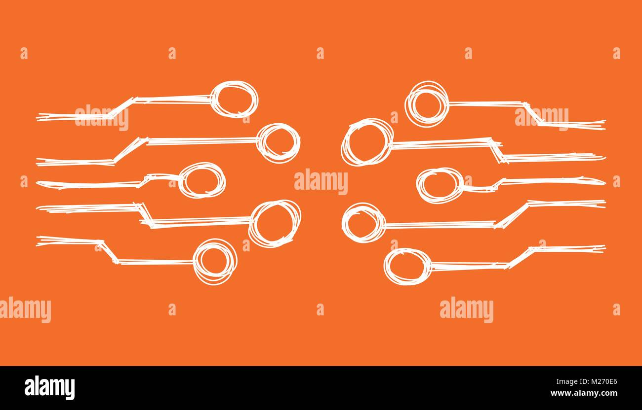 hand drawn circuit board icon doodle scetch technology schemehand drawn circuit board icon doodle scetch technology scheme symbol flat vector illustration on orange background