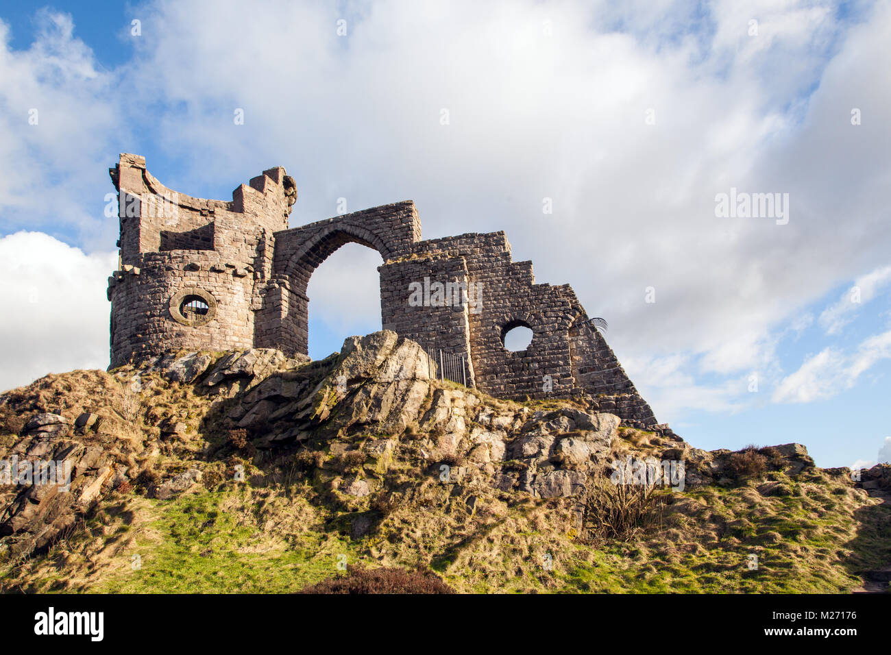 Cheshire landmark Mow Cop castle, the folly of a ruined castle standing  on the Gritstone trail a long distance - Stock Image