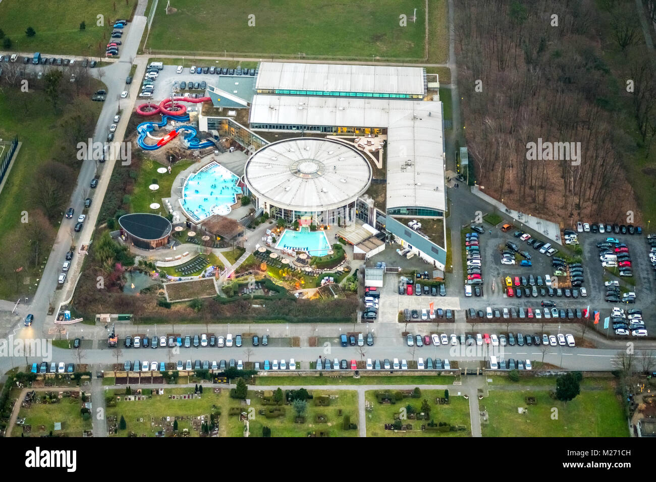 Maximare, experience therme Bad Hamm, sauna and outdoor pool, indoor pool, Hamm, Ruhr, Nordrhein-Westfalen, Germany, - Stock Image