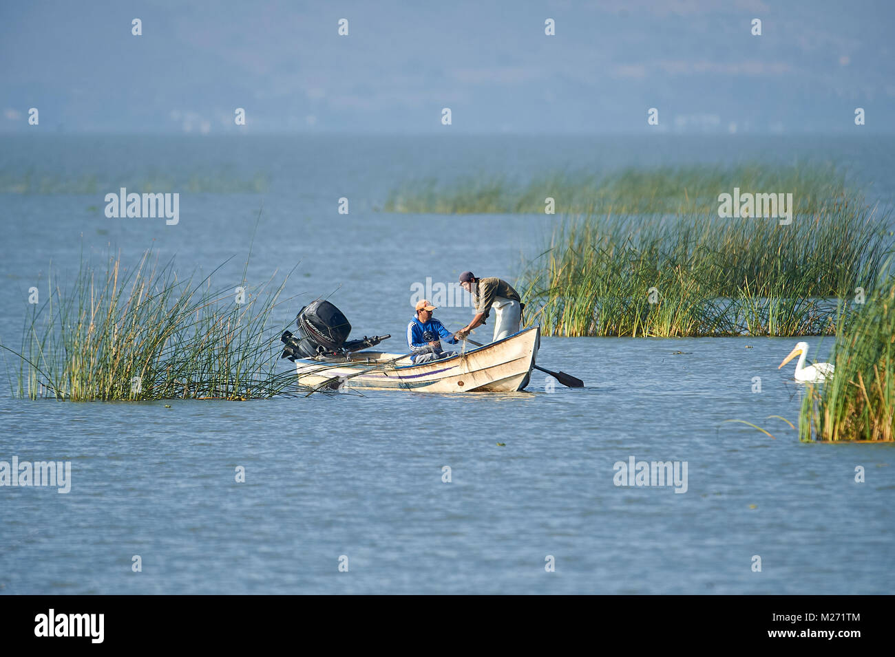Fishermen at work on Lake Chapala, Ajijic, Jalisco, Mexico, Lake Chapala is the biggest freshwater lake in Mexico - Stock Image