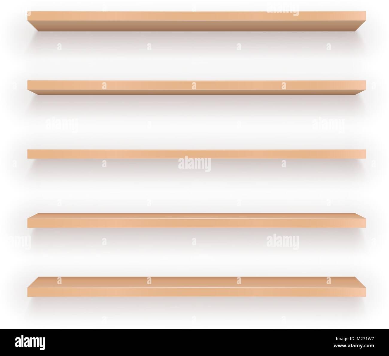 Set of Wood Shelves - Stock Image
