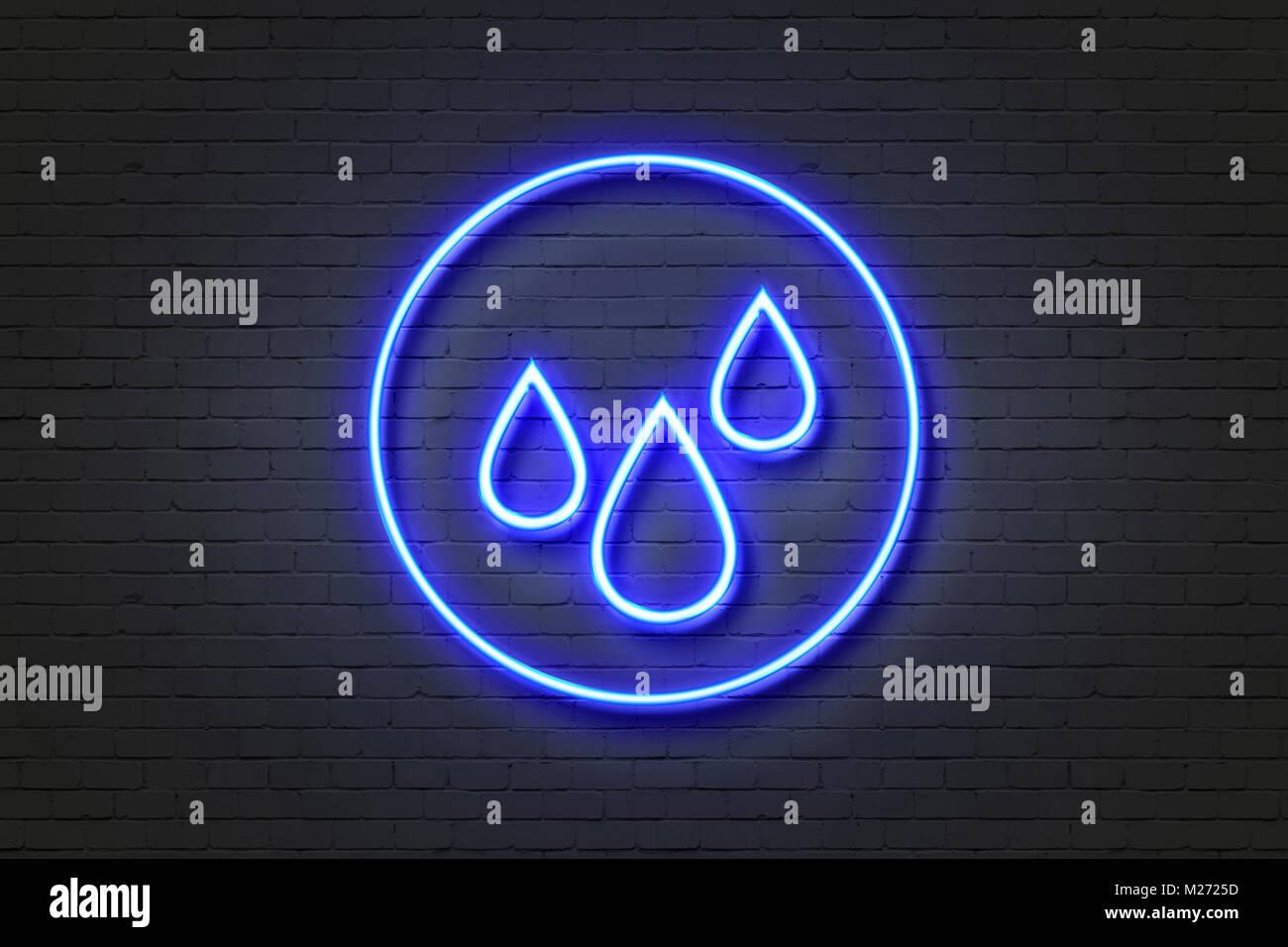 Neon light icon rain - Stock Image