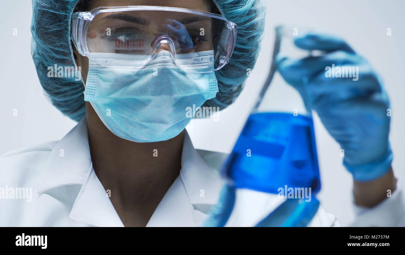 Attentive biracial chemist looking at conical flask with blue liquid inside - Stock Image