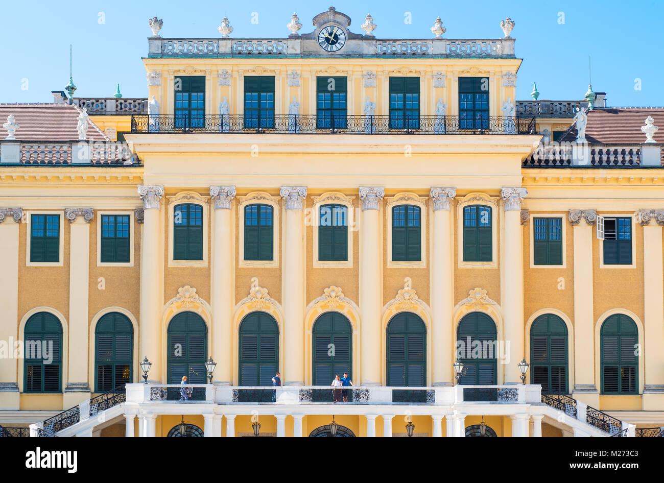Austria, Vienna,  The main facade of the Schonbrunn Palace - Stock Image