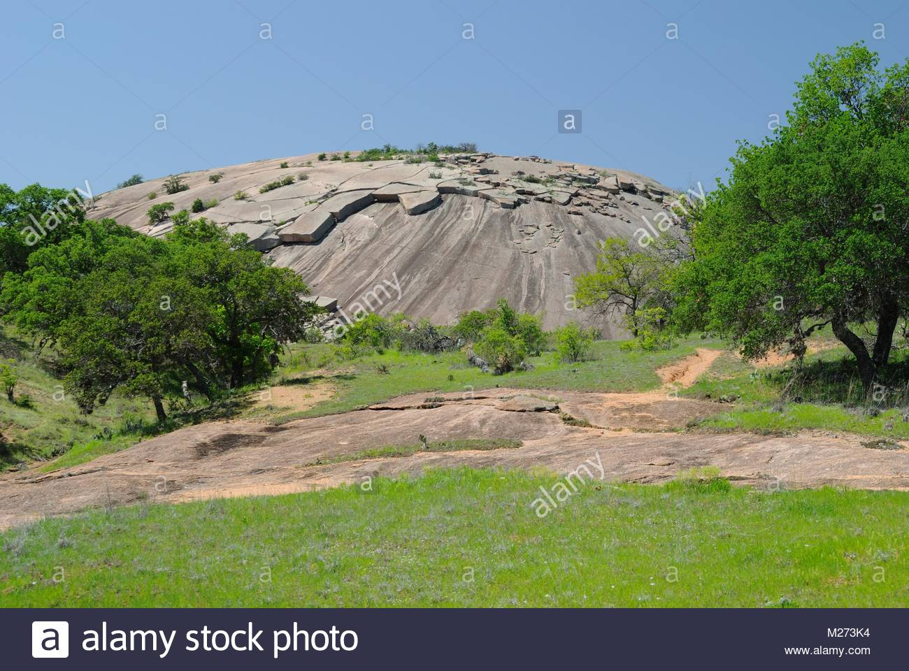 Sunny Day at Enchanted Rock State Natural Area. Blue Sky, trees, and green grass frame Enchanted Rock, a granite Stock Photo