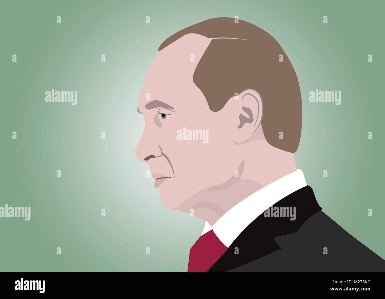 February 5, 2018: An illustration of a portrait of Vladimir Putin, the President of Russia - Stock Image