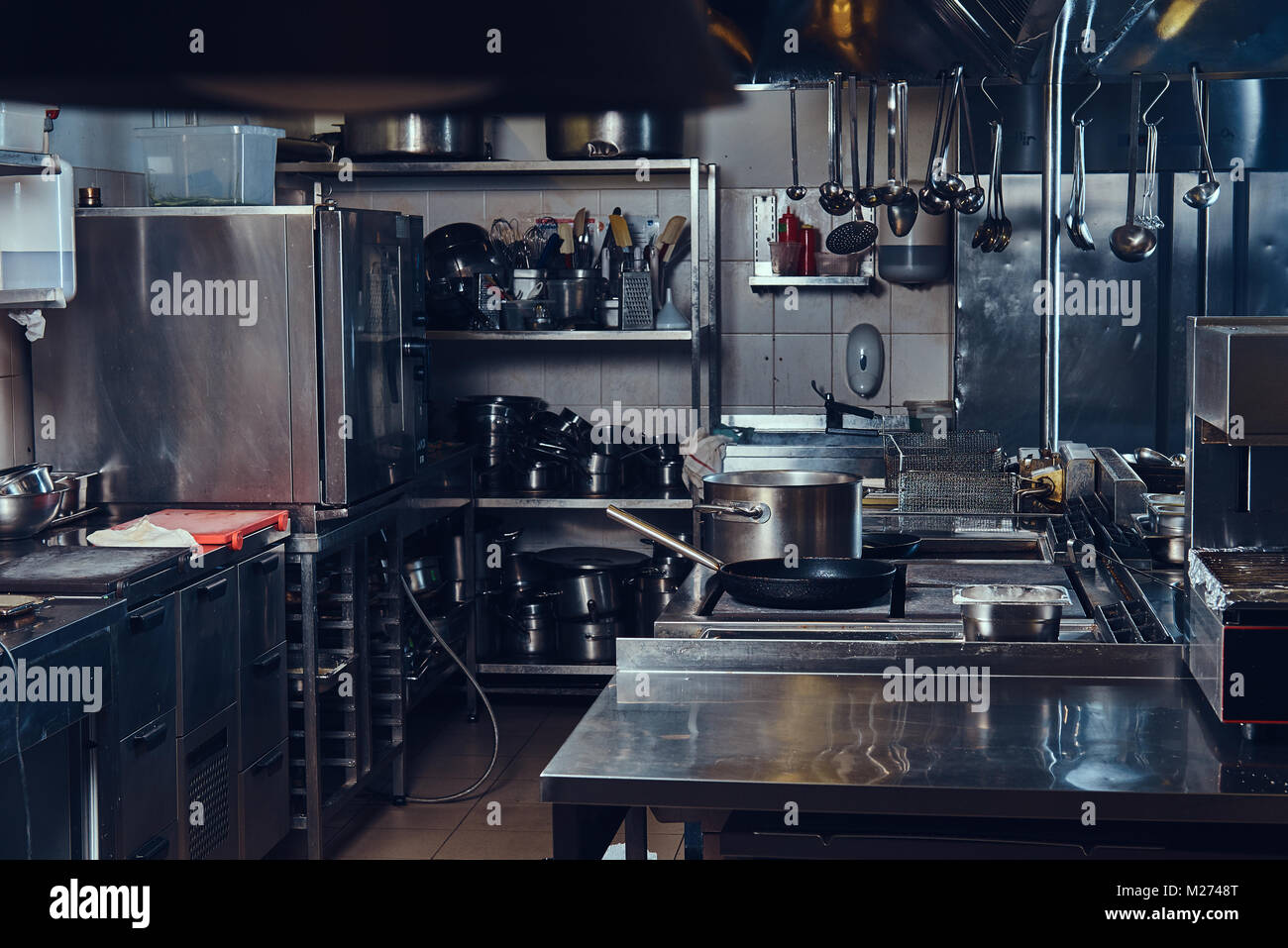 Professional stainless steel kitchen. Stock Photo