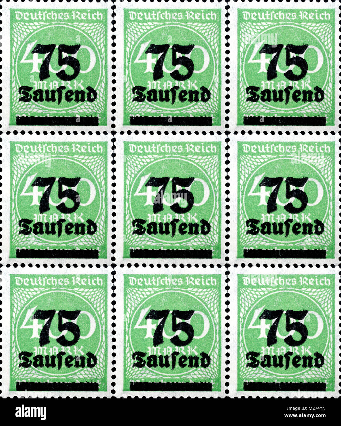 Inflation stamps German empire Stock Photo