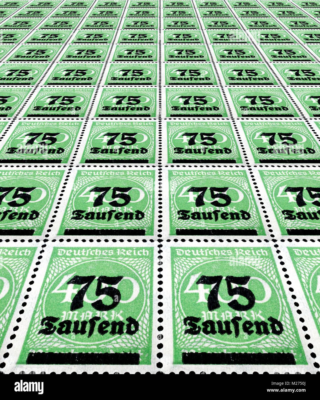 Inflation stamps German empire - Stock Image