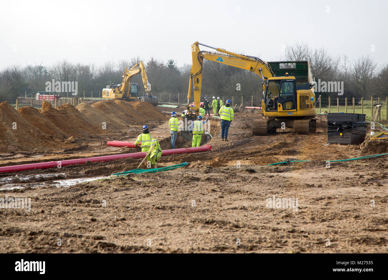 Construction work site laying electricity power cables related to East Anglia One wind farm, Waldringfield Suffolk, - Stock Image