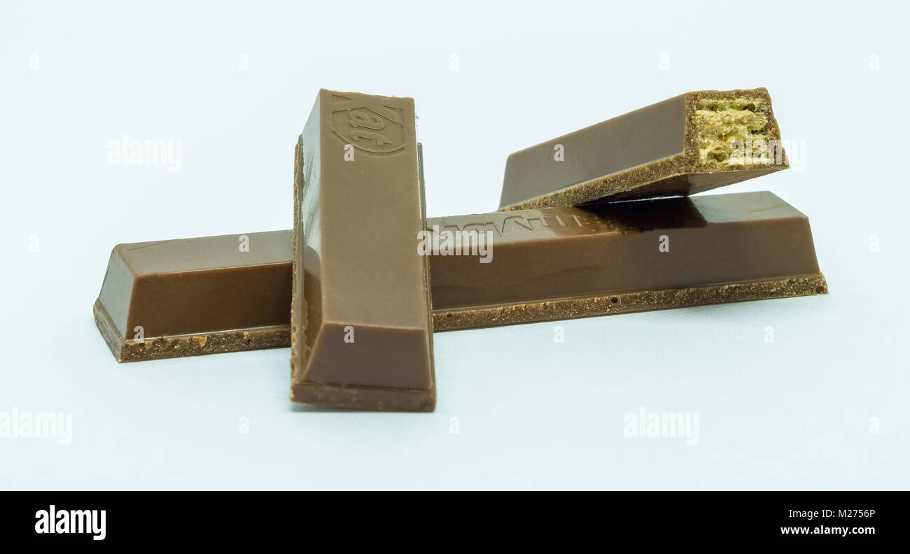 Largs, Scotland, UK - February 03, 2018: Kitkat chocolate fingers high in sugar and is one of the many foods being - Stock Image