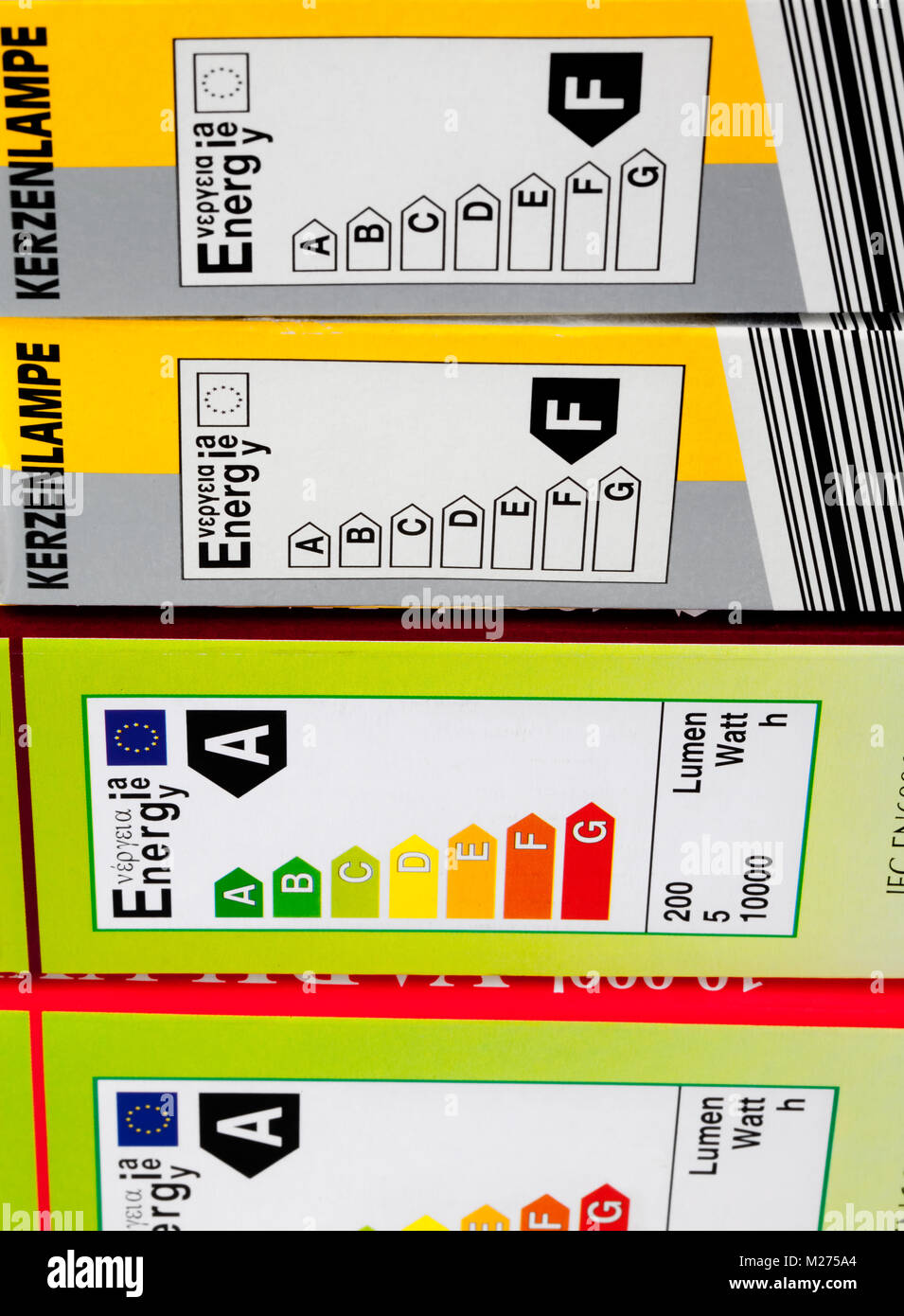 Energy efficient products labels - Stock Image