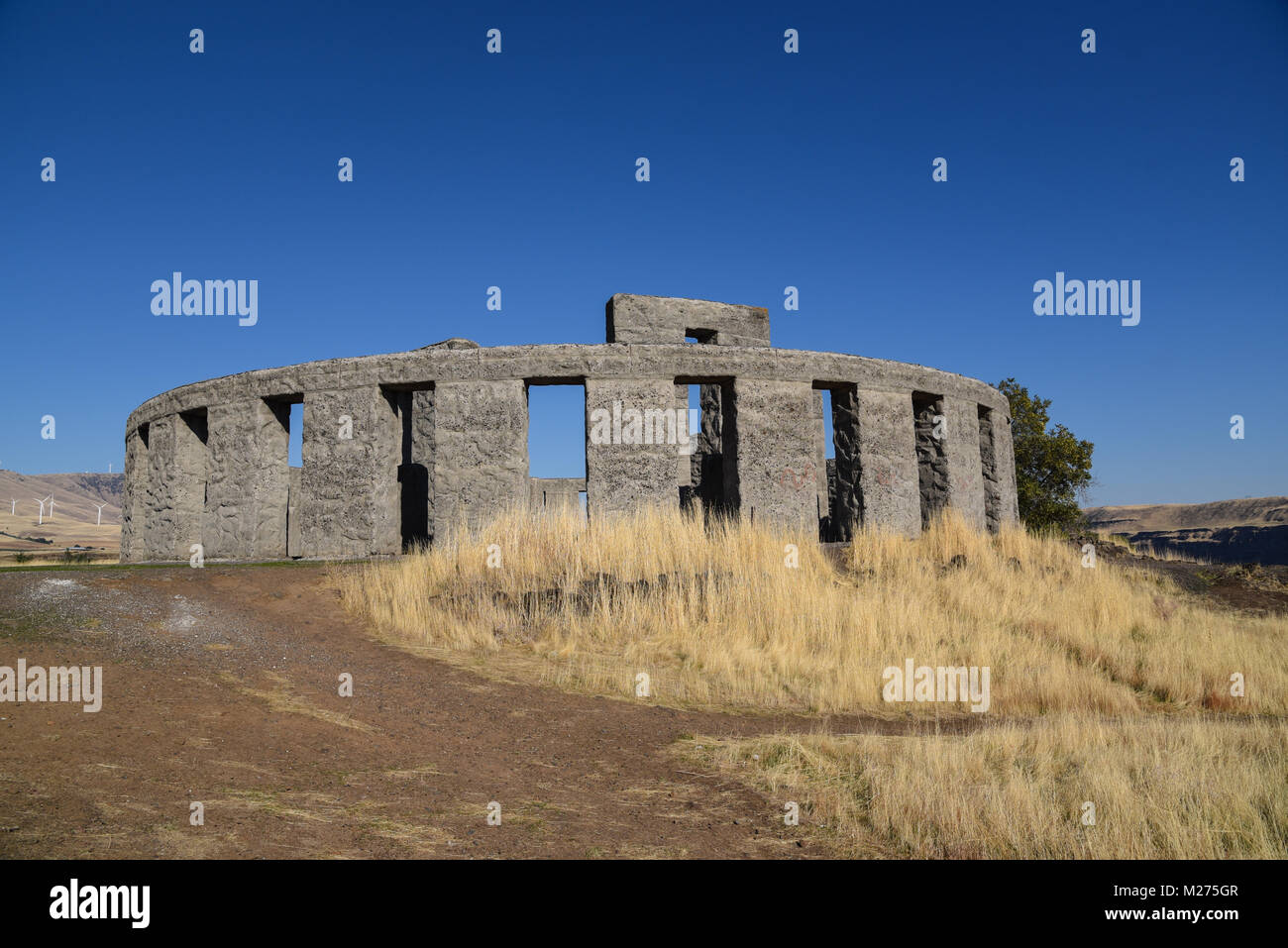 Maryhill Stonehenge replica of the English ancient site structure in Maryhill, Washington state, USA built as memorial Stock Photo