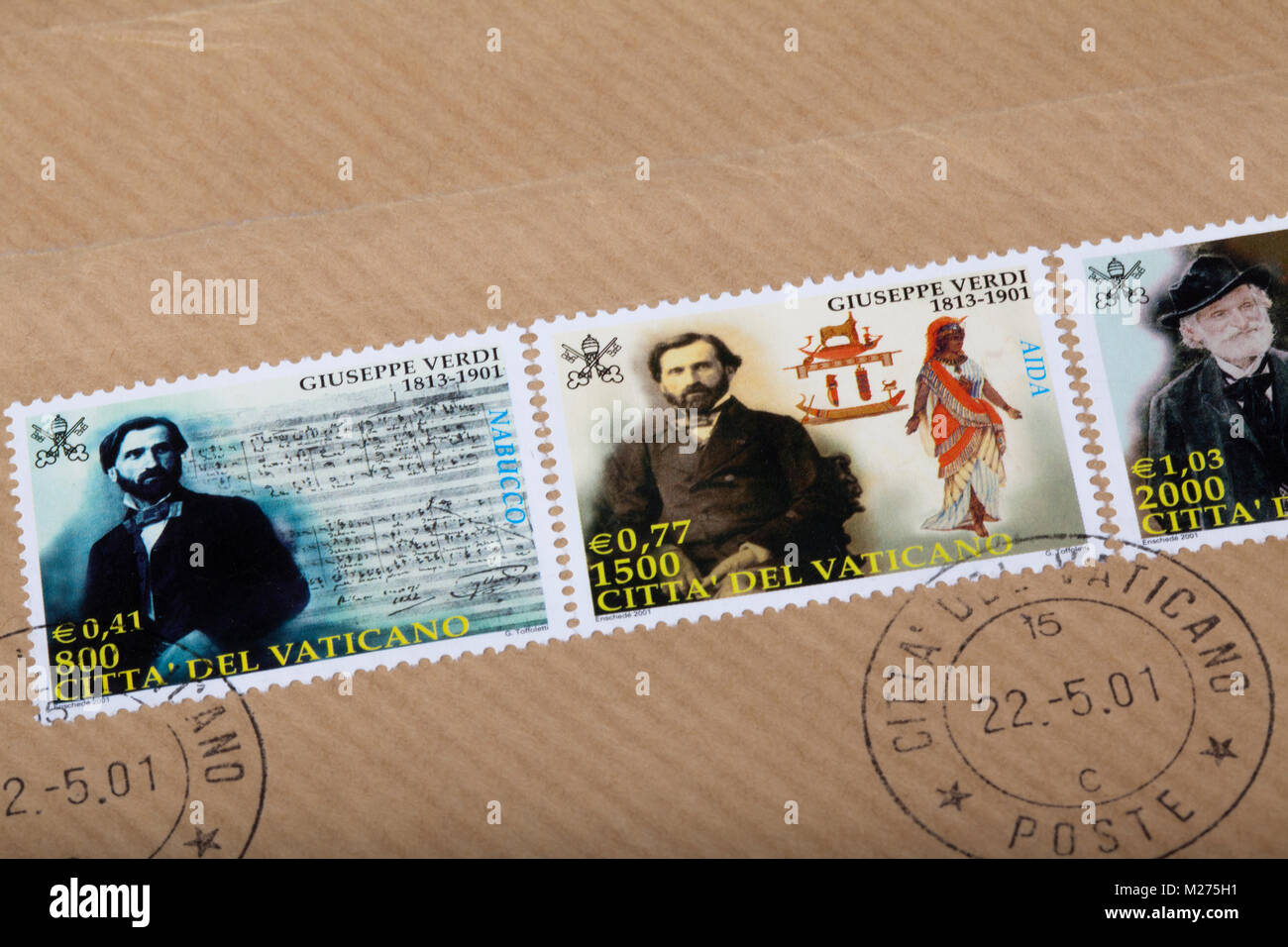 Stamps from the Vatican on a letter, Stamped, Vatican, Italy, Europe, Gestempelte Briefmarken aus dem Vatikan, Giuseppe - Stock Image