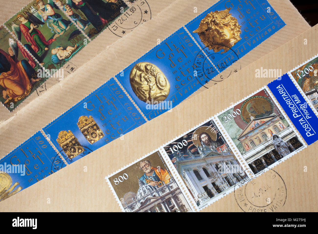 Stamps from the Vatican on a letter, Stamped, Vatican, Italy, Europe, Gestempelte Briefmarken aus dem Vatikan, Stock Photo
