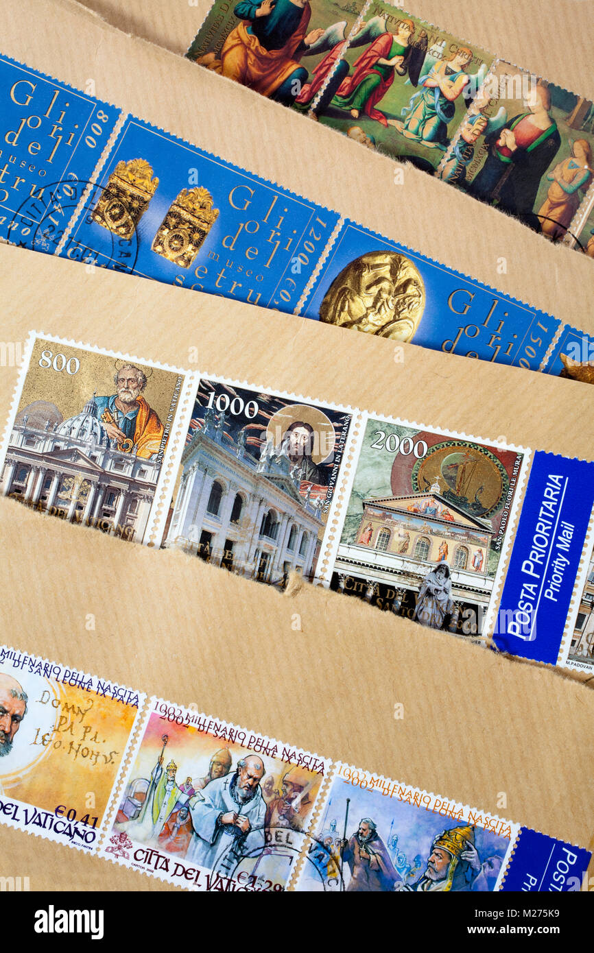 Stamps from the Vatican on a letter, Stamped, Vatican, Italy, Europe, Gestempelte Briefmarken aus dem Vatikan, - Stock Image