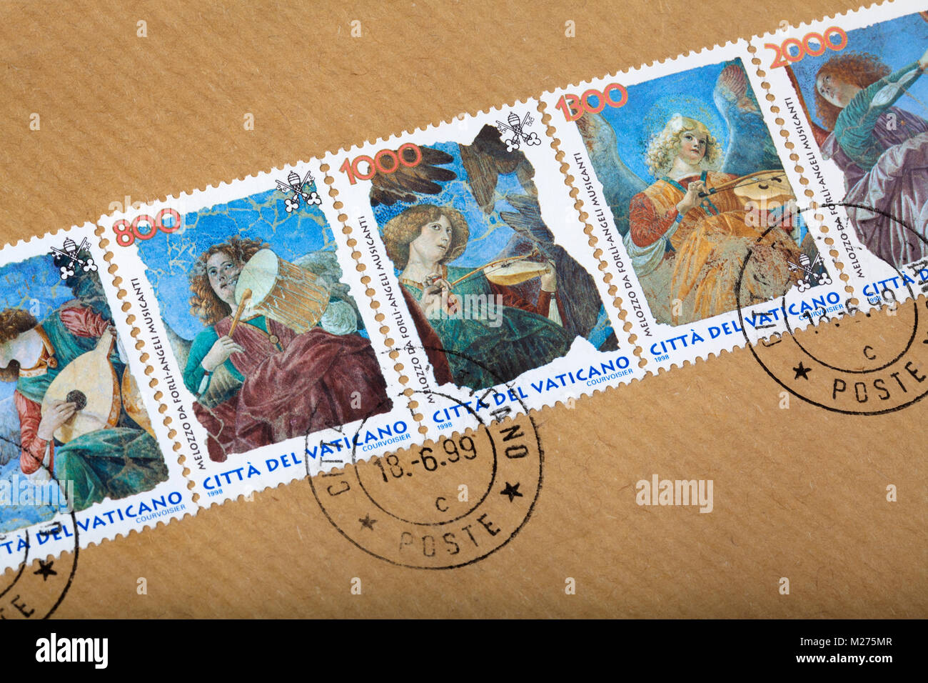Stamps from the Vatican on a letter, Stamped, Vatican, Italy, Europe, Gestempelte Briefmarken aus dem Vatikan, musizierende - Stock Image