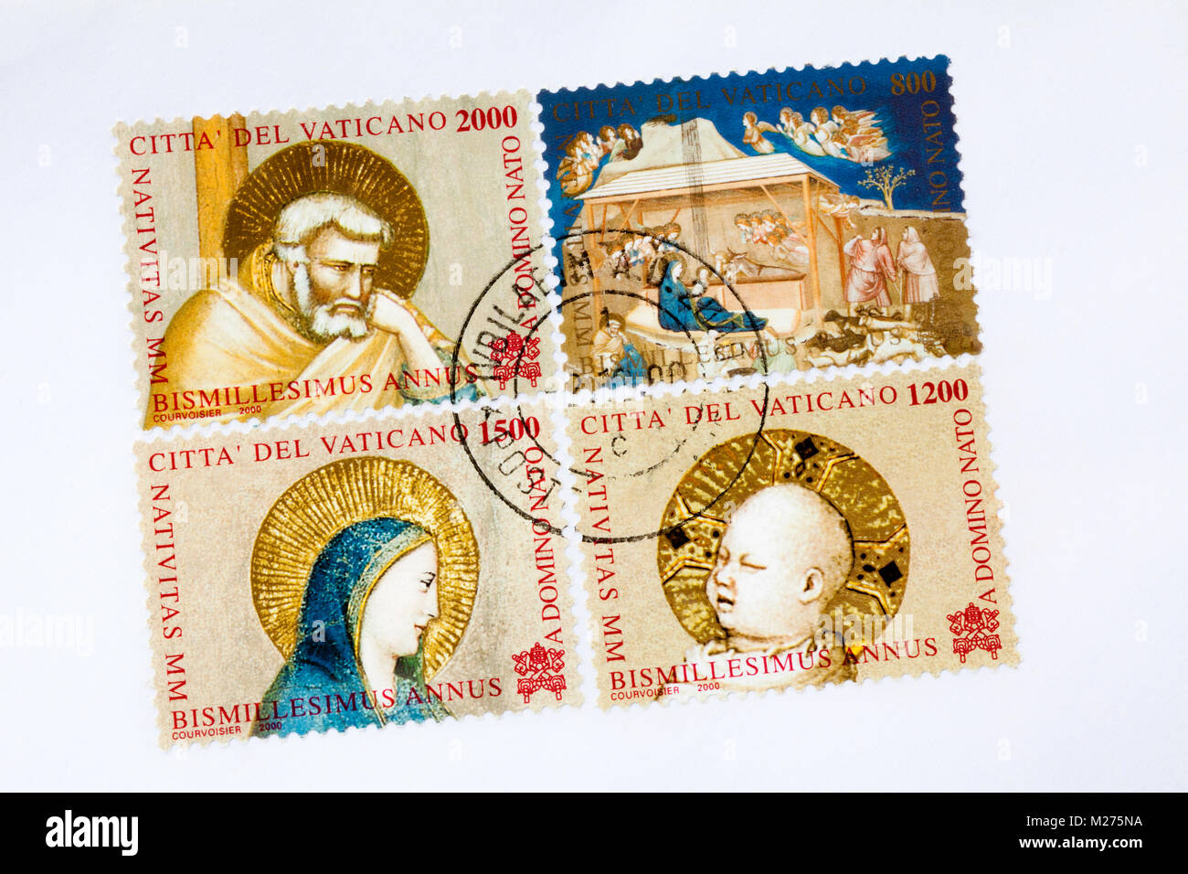 Stamps from the Vatican on a letter, Stamped, Vatican, Italy, Europe, Gestempelte Briefmarken aus dem Vatikan, Weihnachten Stock Photo
