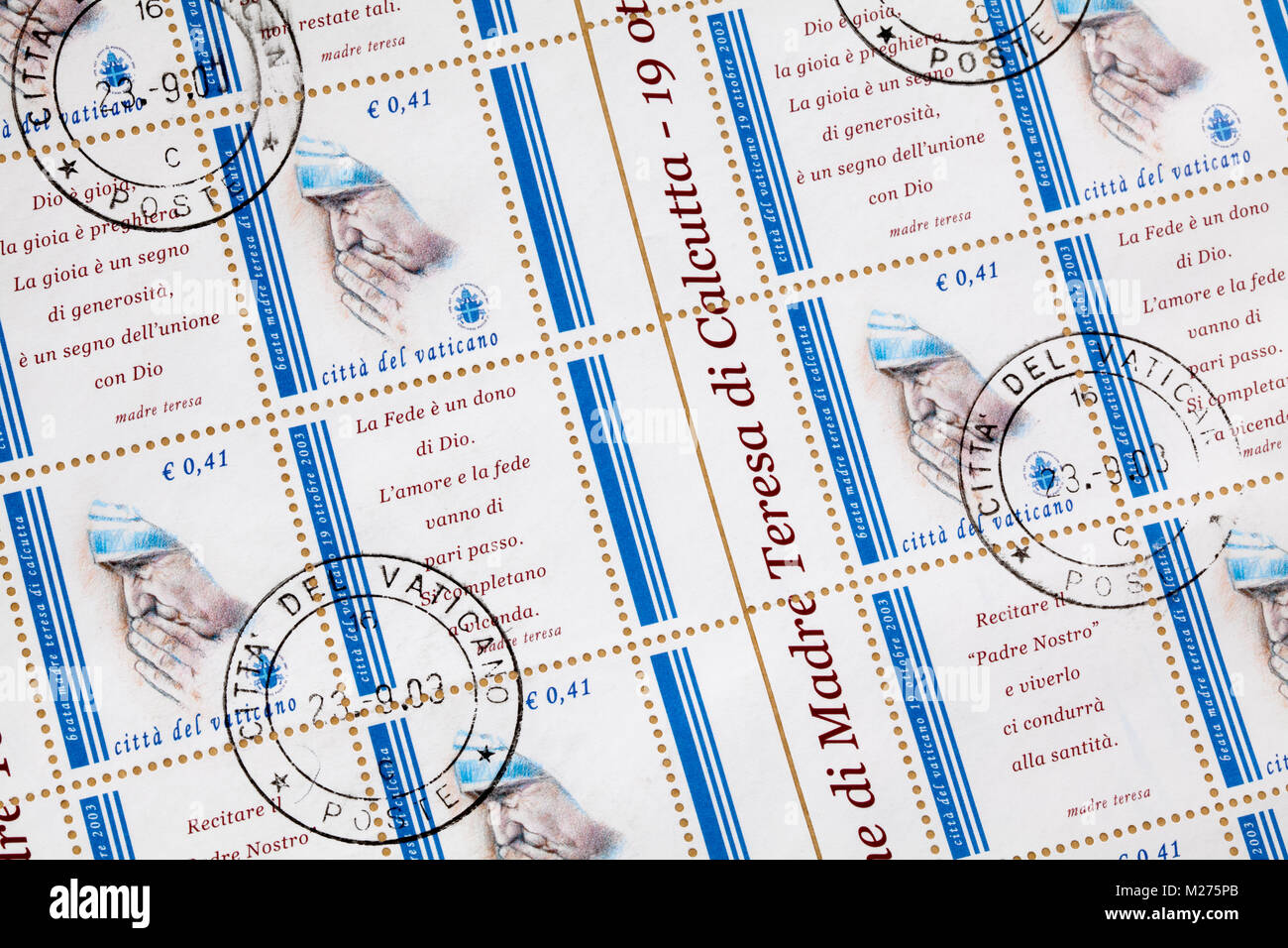 Stamps from the Vatican on a letter, Stamped, Vatican, Italy, Europe, Gestempelte Briefmarken aus dem Vatikan, Mutter - Stock Image
