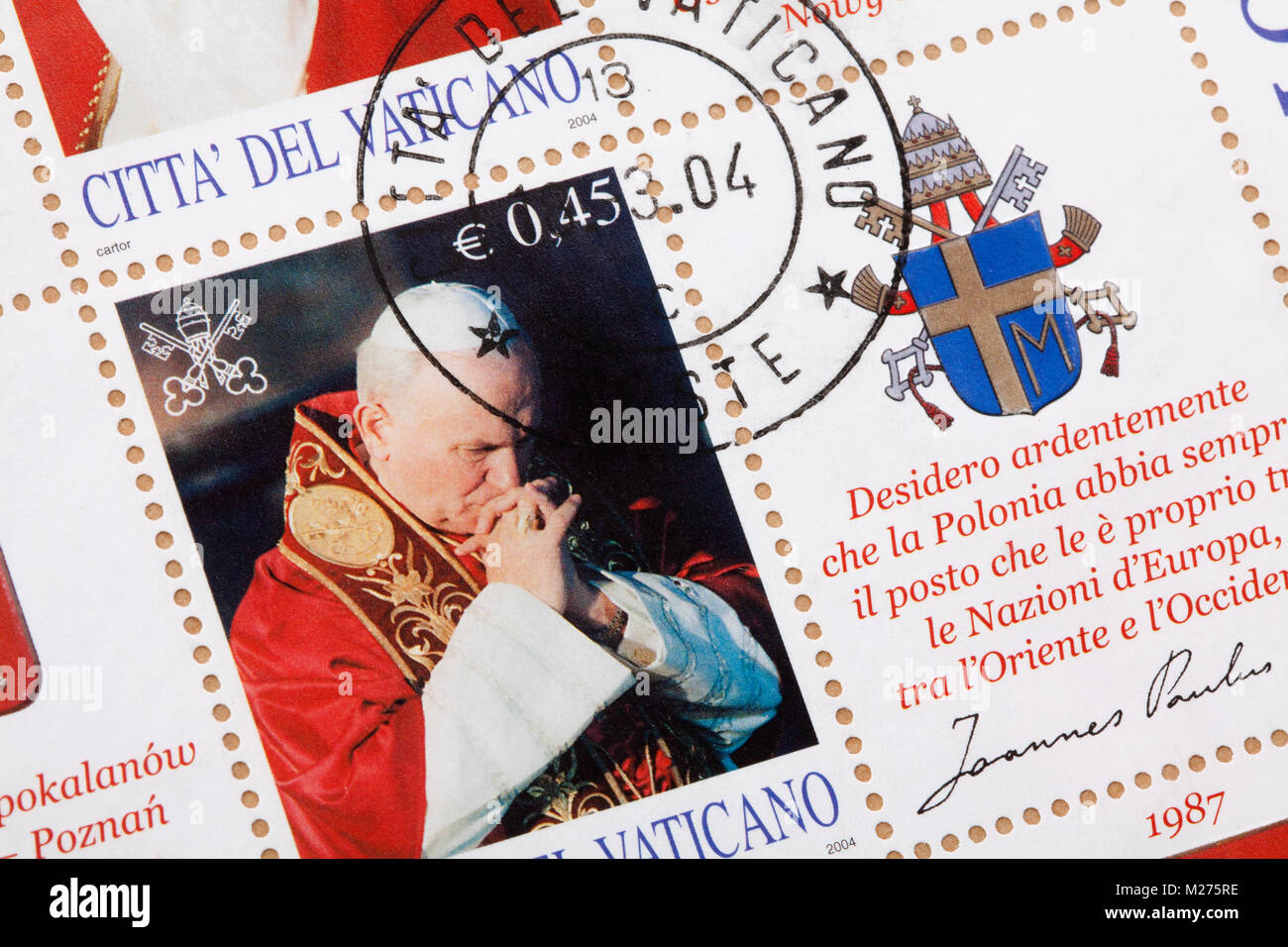 Stamps from the Vatican on a letter, Stamped, Vatican, Italy, Europe, Gestempelte Briefmarken aus dem Vatikan, Johannes - Stock Image