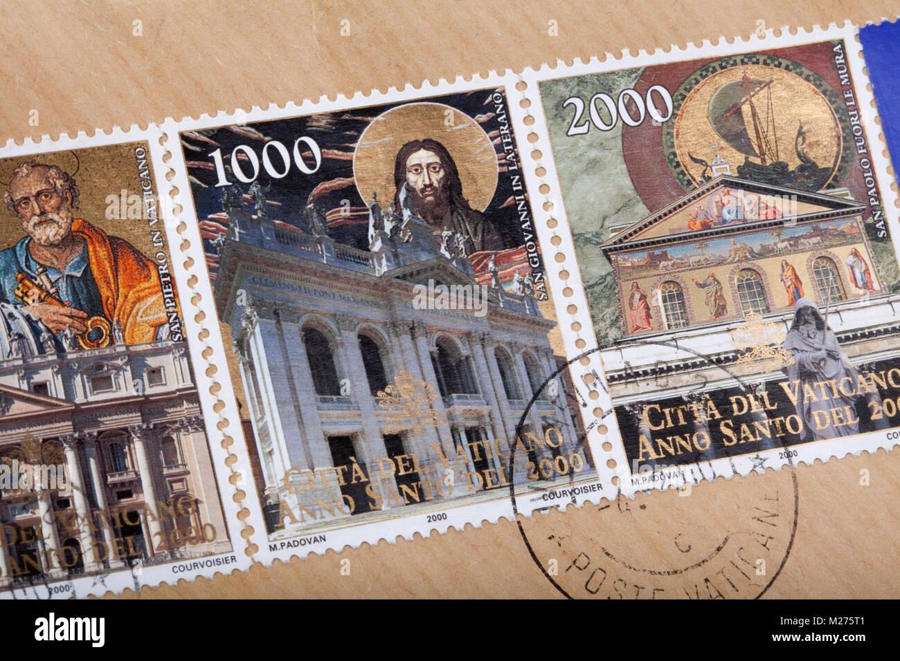 Stamps from the Vatican on a letter, Stamped, Vatican, Italy, Europe, Gestempelte Briefmarken aus dem Vatikan zum - Stock Image