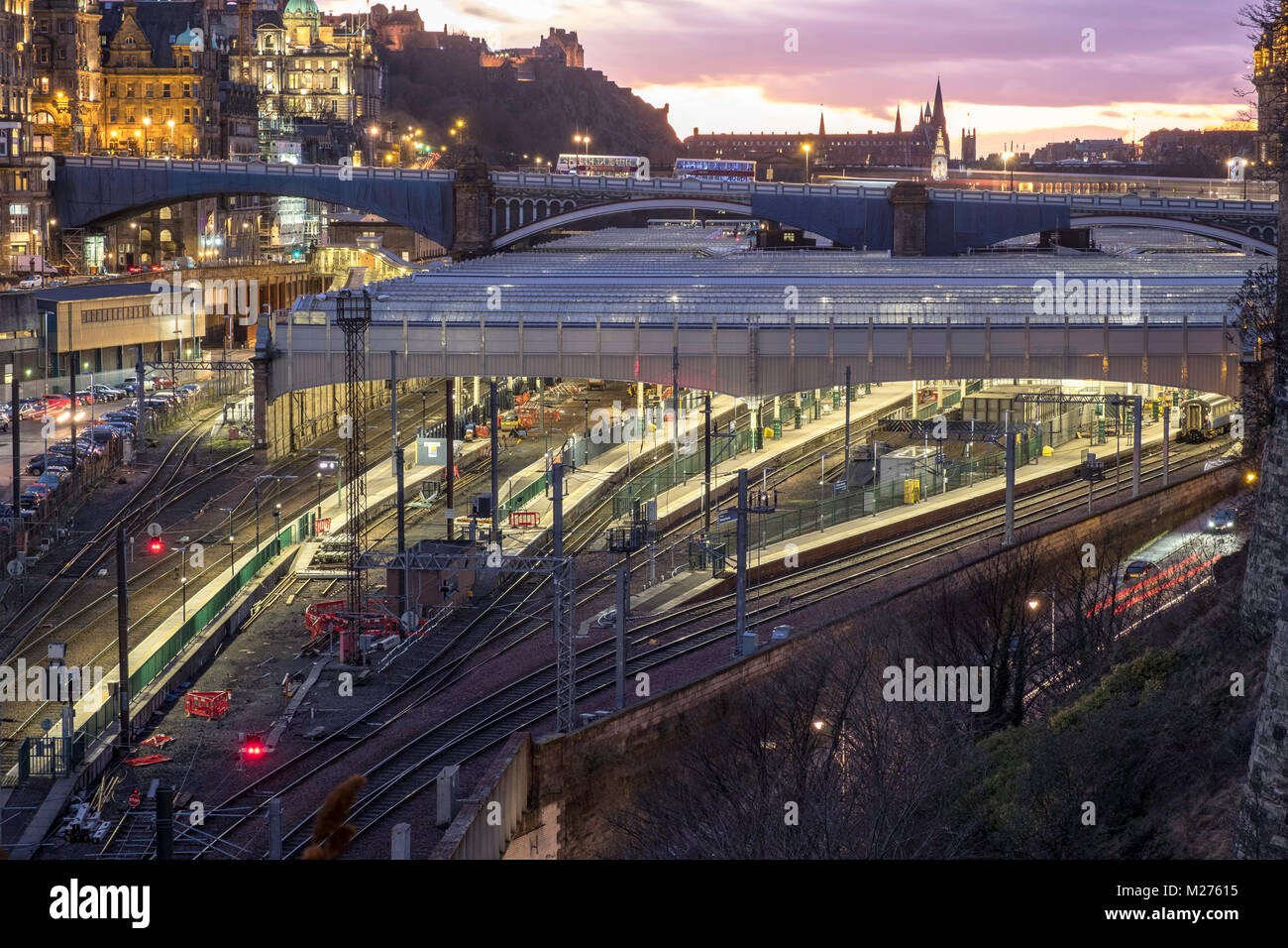Night view of Waverley railway station in Edinburgh, Scotland, United Kingdom - Stock Image