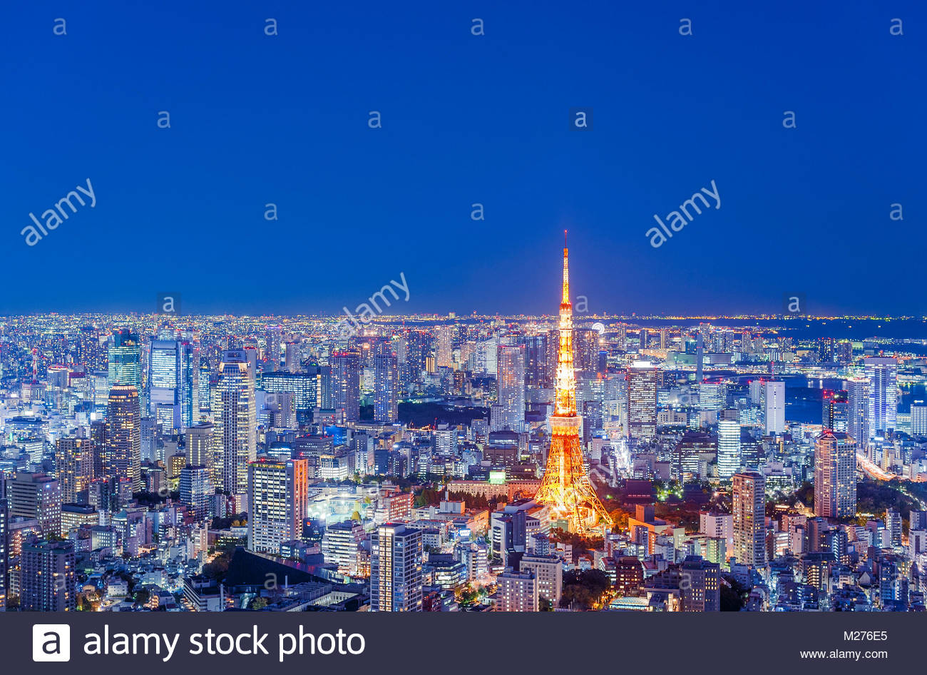 Tokyo Tower Tokyo Skyline City Lights - Stock Image