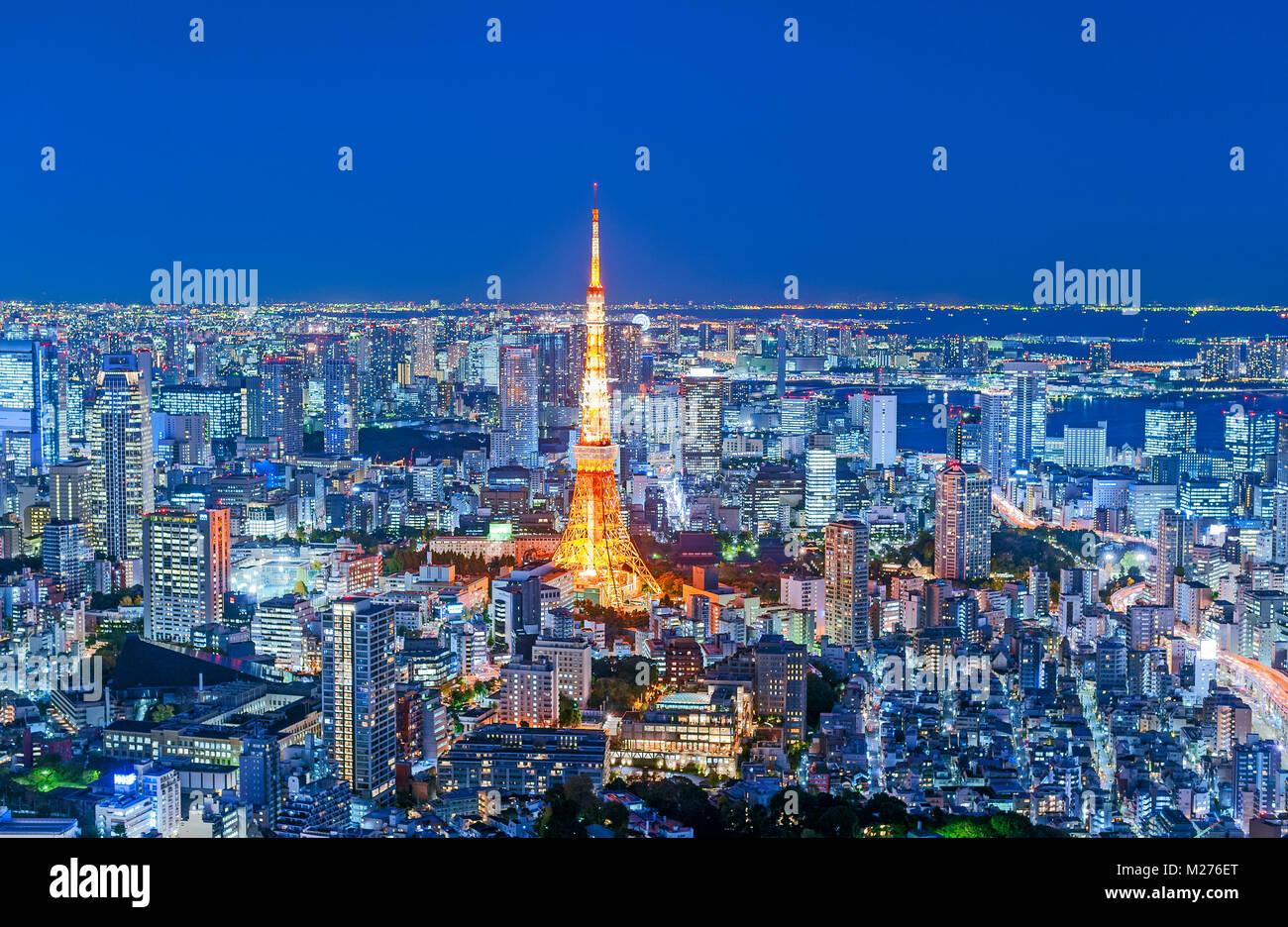 Tokyo Skyline Tokyo Tower City Lights - Stock Image