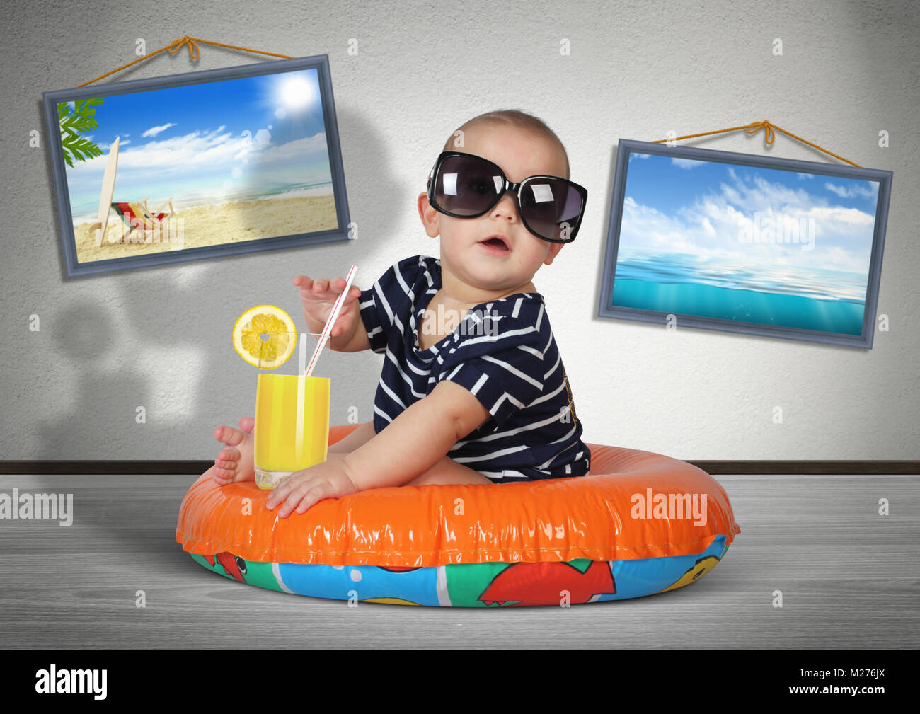 Funny Child Rest On Swimming Ring At Home As On The Beach Vacation Stock Photo Alamy