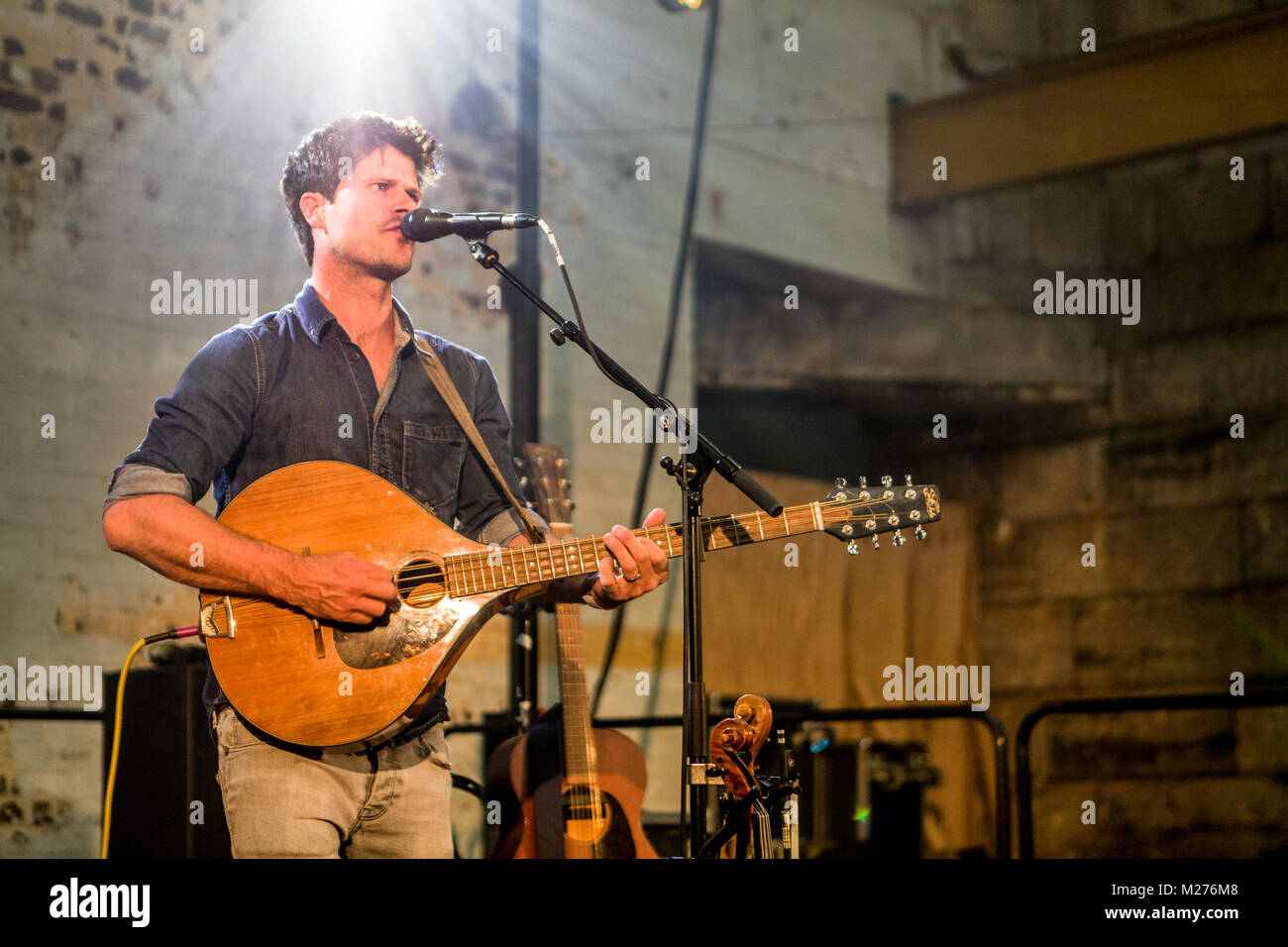Seth Lakeman on stage at the Royal William Yard Festival Plymouth. - Stock Image